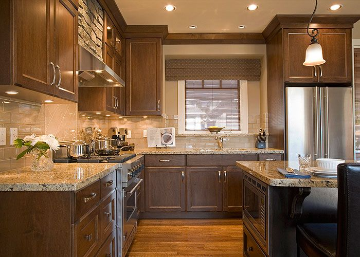 Kitchen with dark brown cabinets i like the under cabinet - Kitchen design with dark brown cabinets ...