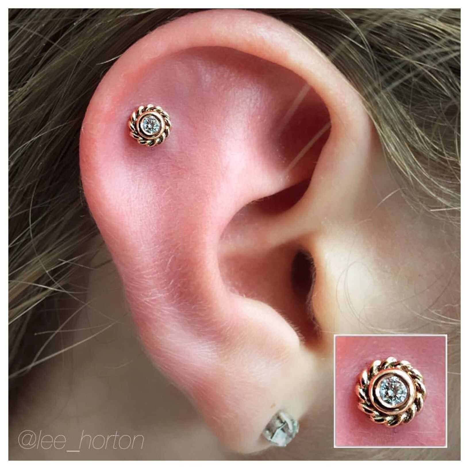 Helix #piercing with a 14k #rosegold Mini Choctaw with a genuine ...