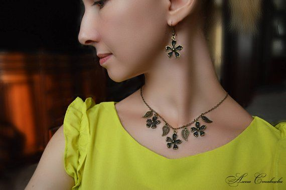 Brass Flower Necklace and Earrings Set