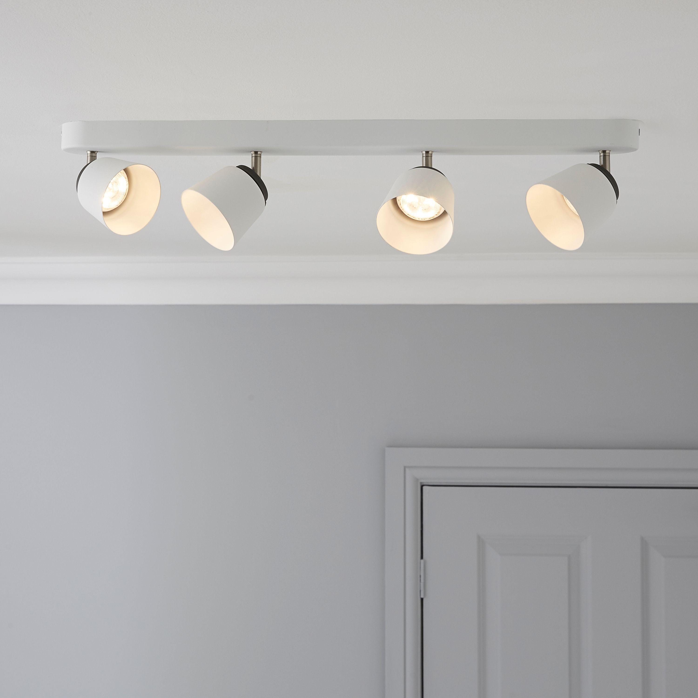 Dender County White 4 Lamp Ceiling Spotlight Bar Lights