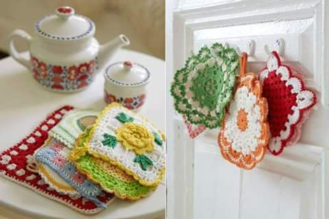 Closet For Crocheted Napkin مفارش كروشية للمطبخ Crochet For Kitchen Squares Croche Croche Descanso De Panela