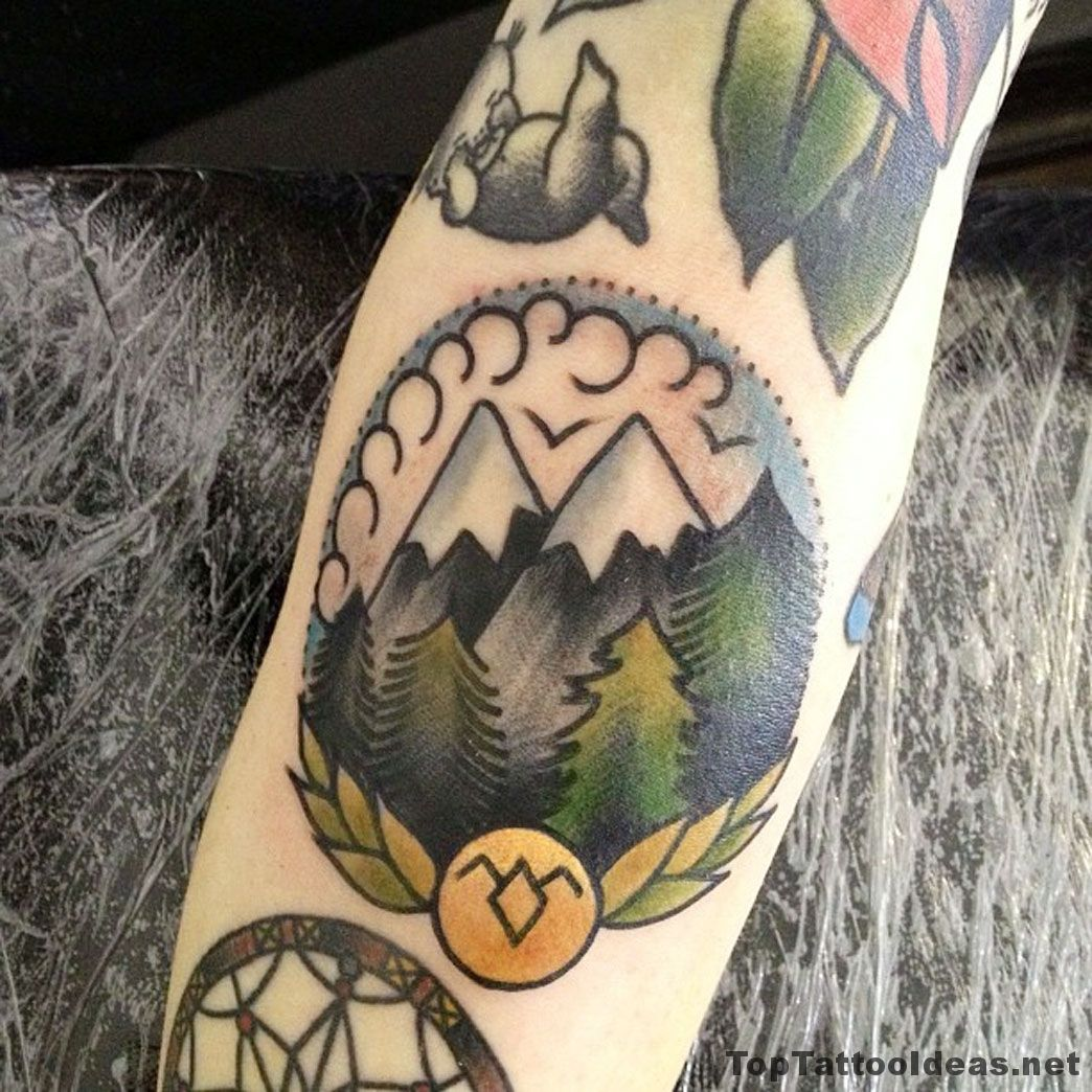 American Traditional Style Mountains Tattoos Tattoo Idea Tattoos Mountain Tattoo Trendy Tattoos