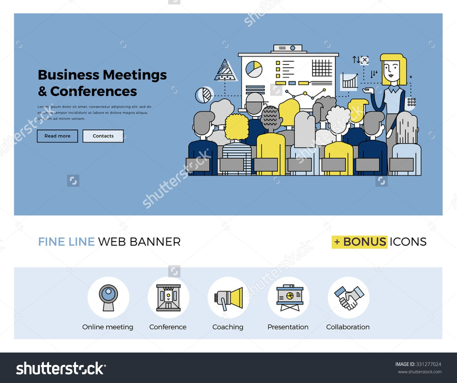 Flat Line Design Of Web Banner Template With Outline Icons Of