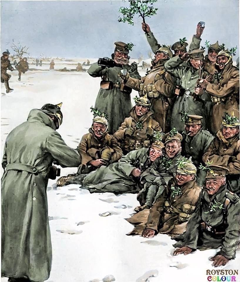 Christmas 1914.The Christmas Truce British And German Soldiers Celebrating