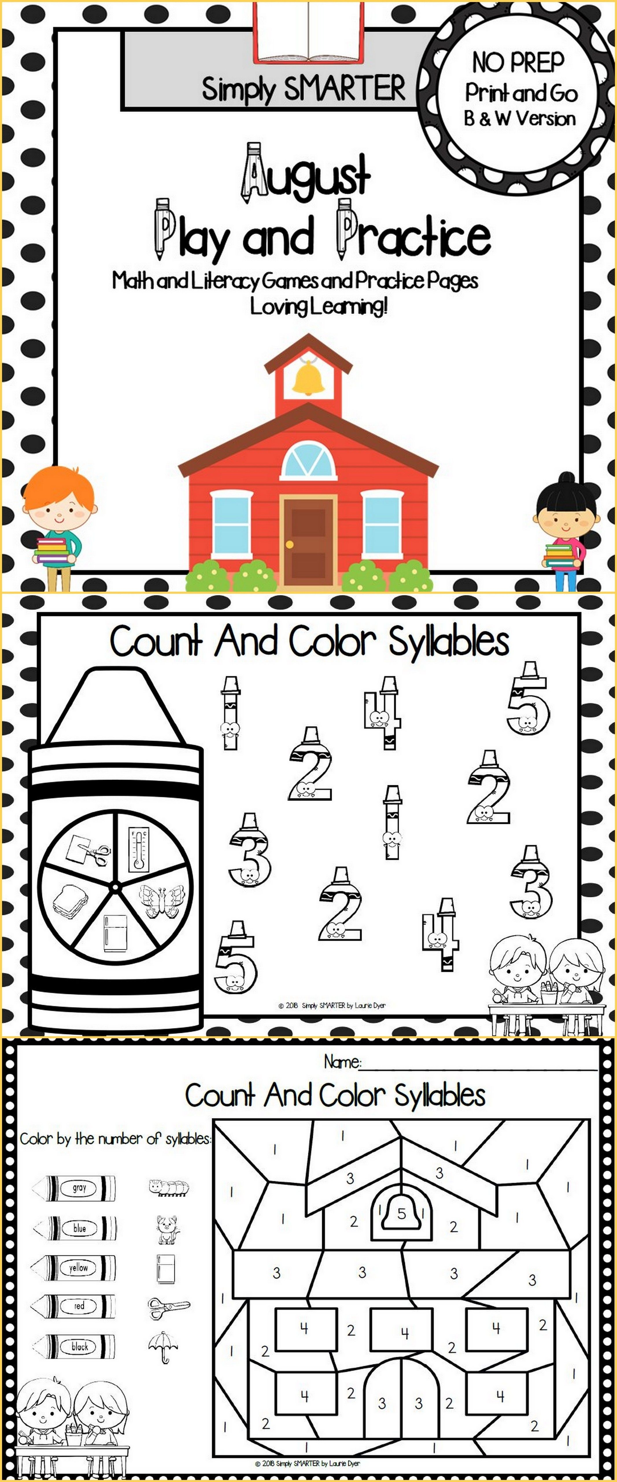 August Play And Practice No Prep Math And Literacy Games
