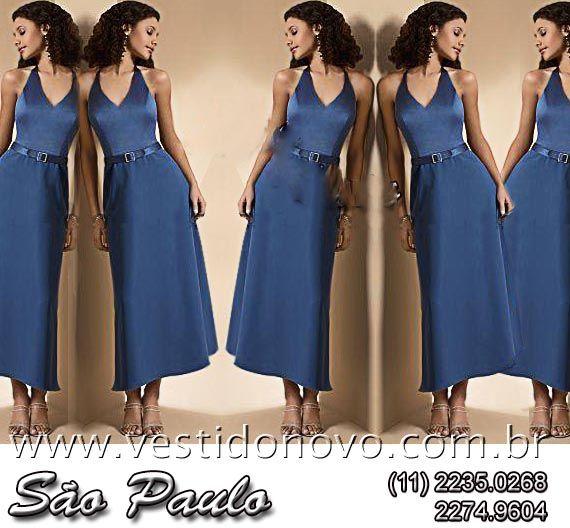 Vestido azul, frente única, madrinha de casamento em cetim importado da  LOJA VESTIDO NOVO 3a1832e51e