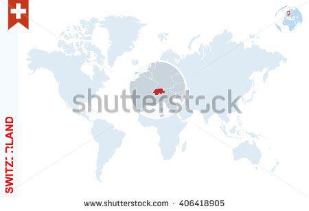 Pin by cristian chiriac on switzerland pinterest switzerland world map with magnifying on switzerland blue earth globe with switzerland flag pin zoom on switzerland map vector illustration gumiabroncs Images