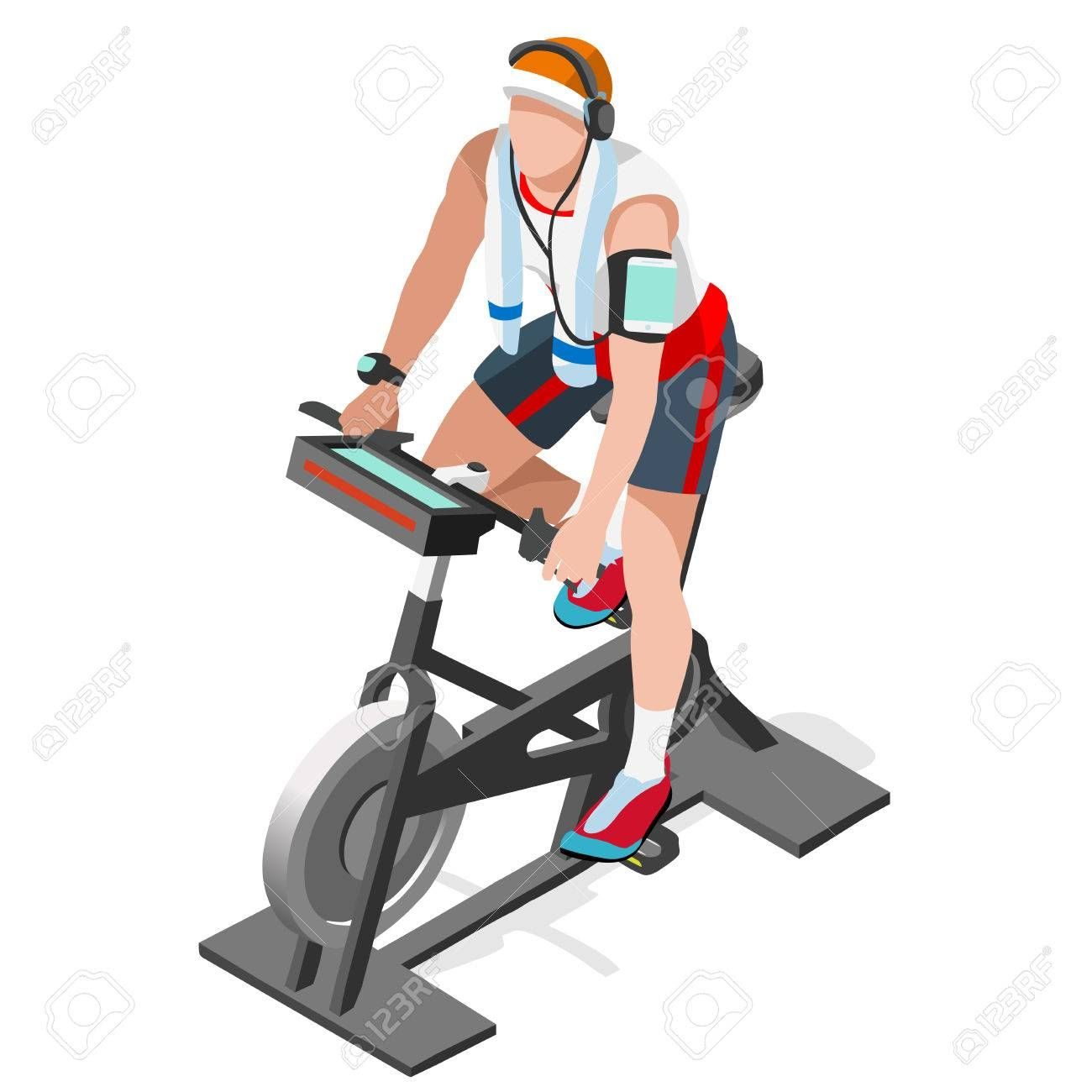 Exercise Bike Spinning Fitness Class 3d Flat Isometric Spinning