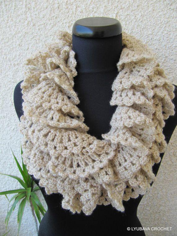 Crochet Ruffle Scarf, Marvellous Romantic Ruffle Beige Scarf ...
