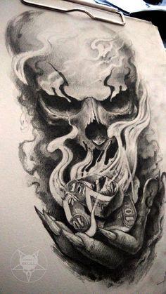 Evil Skull Tattoos : skull, tattoos, Burning, AndreySkull, DeviantArt, Skulls, Drawing,, Tattoo, Drawings,, Skull, Design