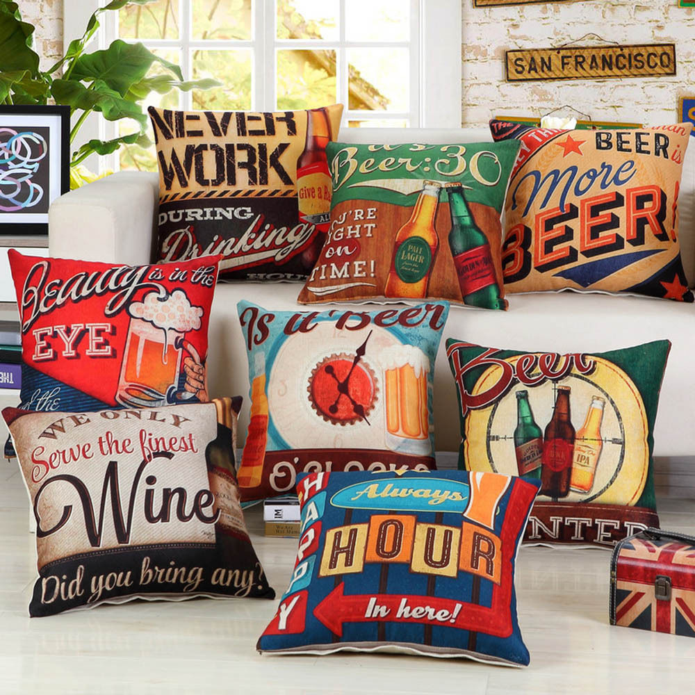 Beer wine words printed pillow case home decor linen cotton cushion