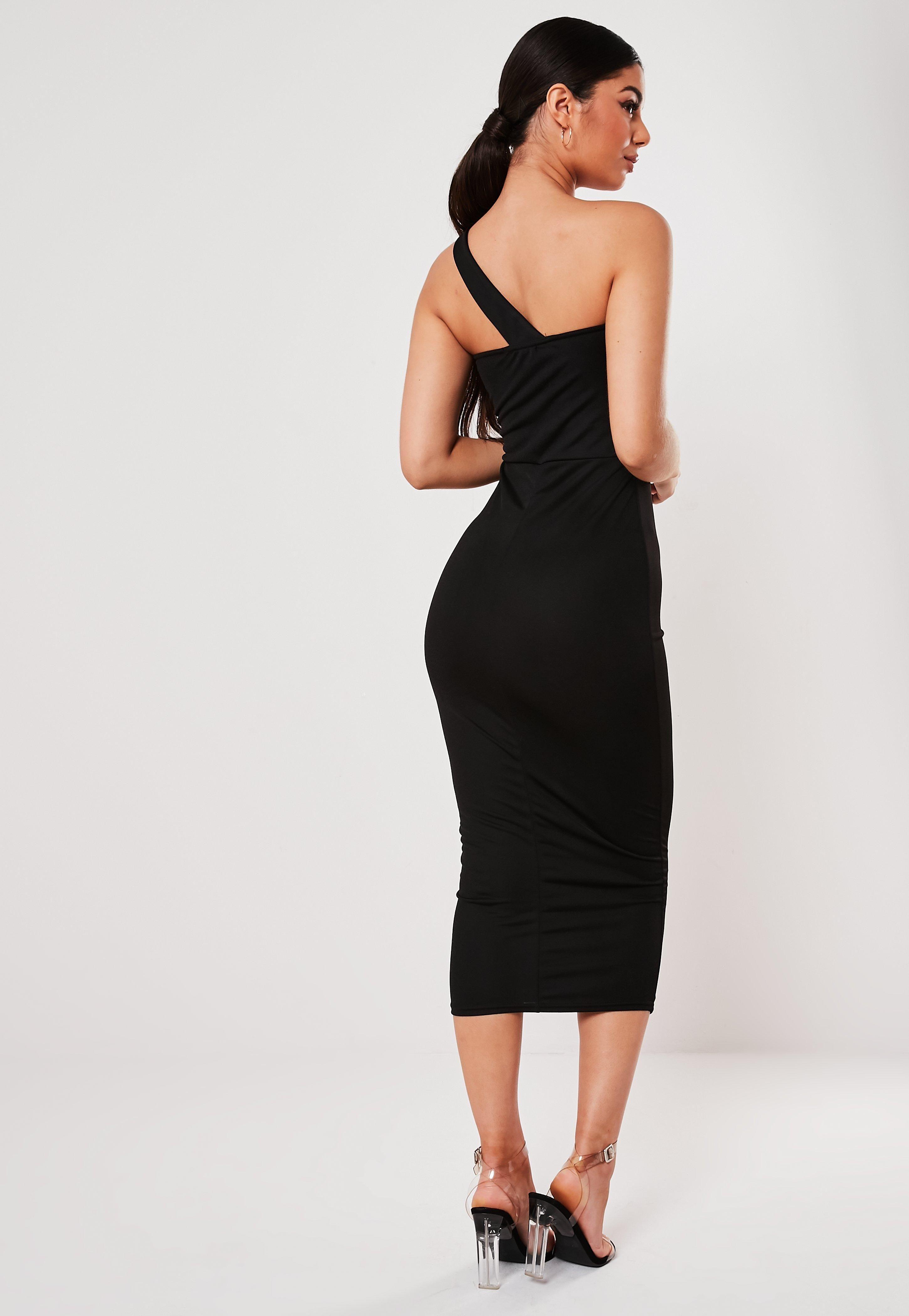 Black Asymmetric Strap Bodycon Midi Dress Sponsored Strap Ad Asymmetric Black Dresses Trending Dresses Womens Dresses [ 4200 x 2900 Pixel ]