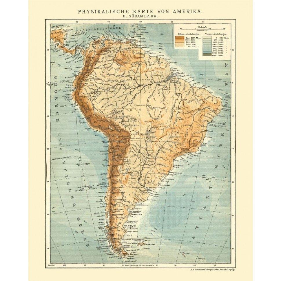 Картинка физическая карта южной америки