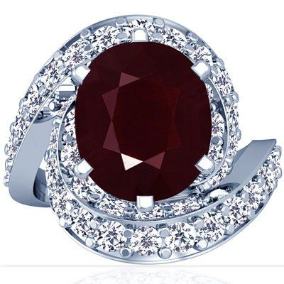 18K White Gold Oval Cut Ruby Ring With Sidestones (GIA Certificate)