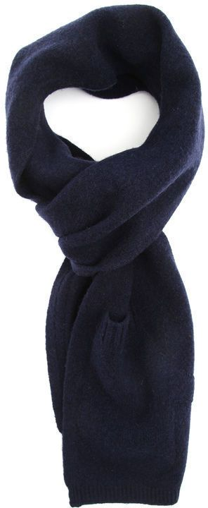 $57, Navy Scarf: YMC Navy Blue Integrated Wool Mitten 2 In 1 Scarf. Sold by Menlook. Click for more info: https://lookastic.com/men/shop_items/306169/redirect