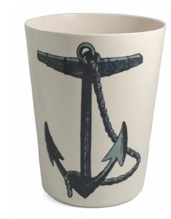 ***Trash Can Garbage Can Wastebasket Plastic Anchor Design Beach Bathroom  Decor Or Nautical