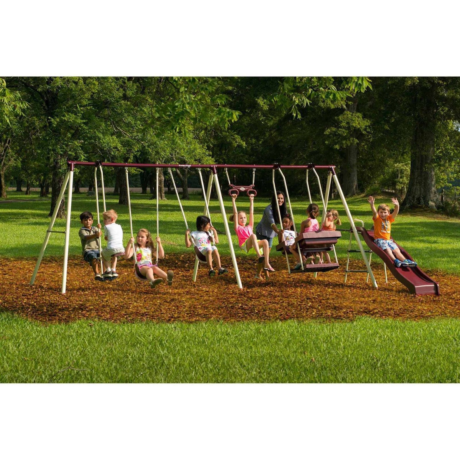 Outdoor Swing Playset Plans 6 Station Kids Metal Outside Glider