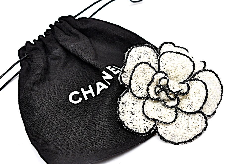 Chanel Ivory Camellia Flower Brooch Pin Woven Fabric With Black