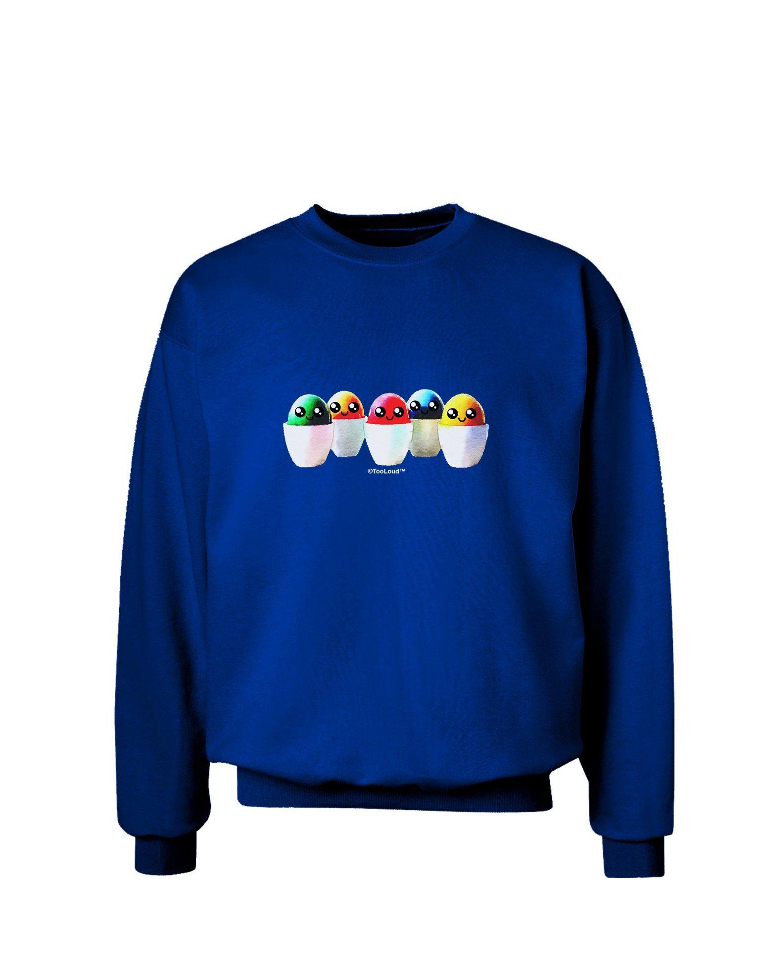 Kawaii Easter Eggs - No Text Adult Dark Sweatshirt by TooLoud