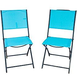 Patiopost 2 Pack Outdoor Iron Sling Textilene Mesh Fabric Folding Armless Chair Blue