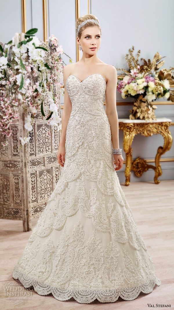 Val Stefani Spring 2016 Wedding Dresses Fit Flare Gorgeous Mermaid Gown Strapless Sweetheart Neckline Beaded Embroidered Bodice Chapel Train B8107