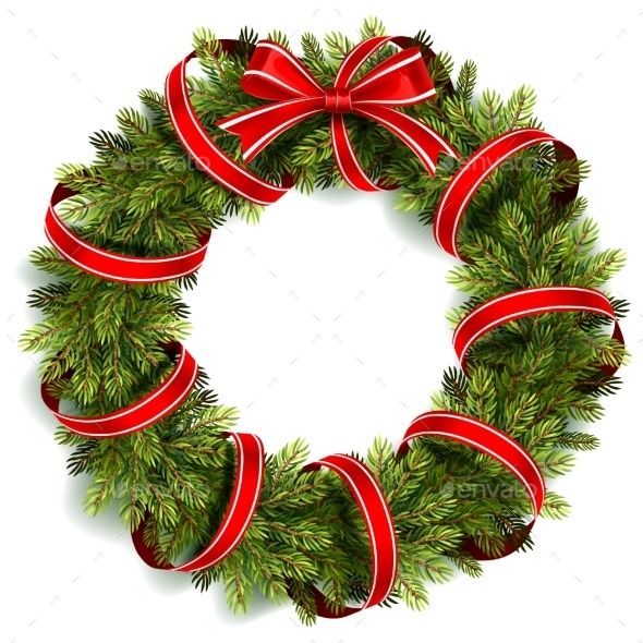 Christmas Wreath With Red Bow Christmas Wreaths Christmas Tree Graphic Christmas Card Crafts
