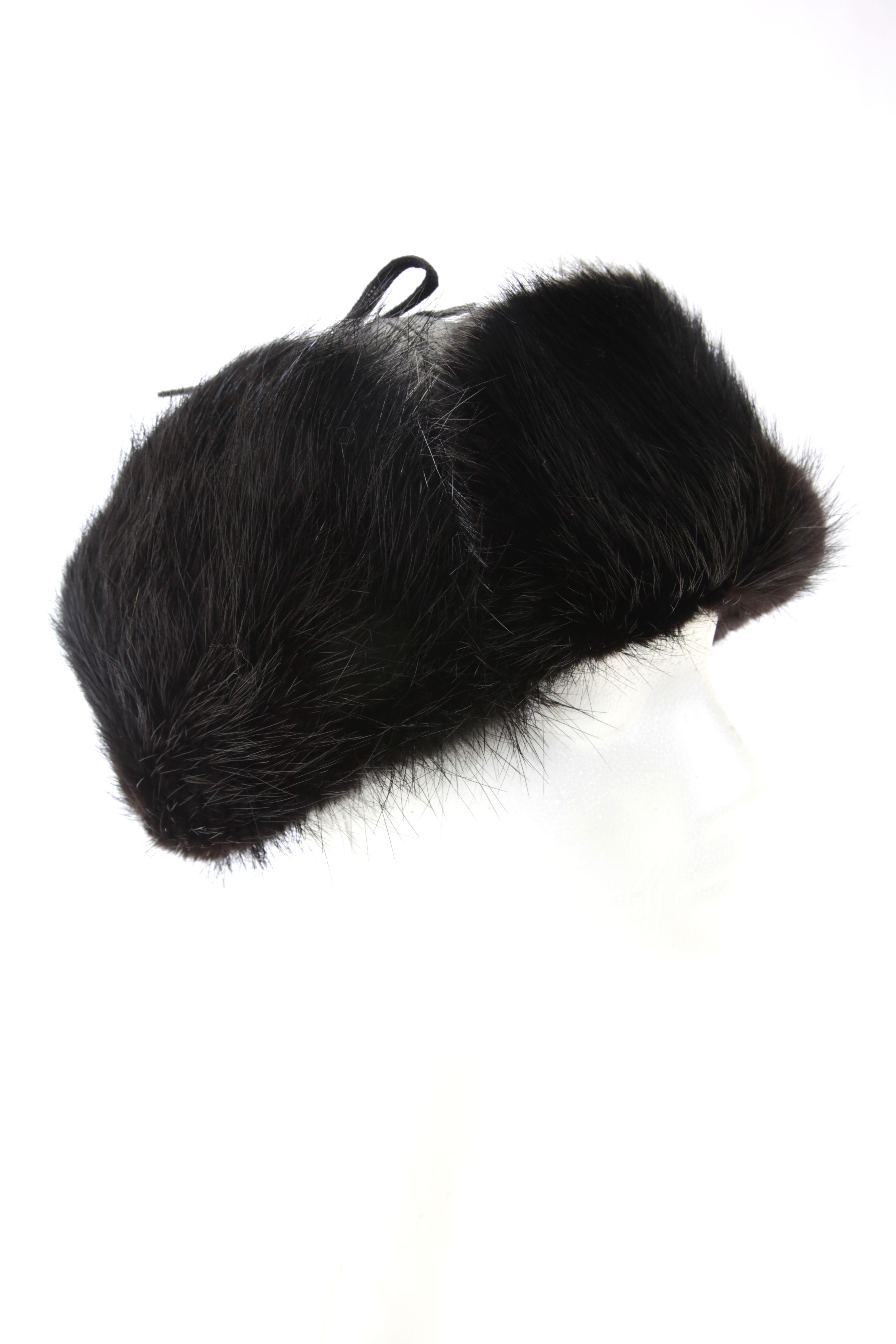 026beef73b9a Chapeau facteur castor noir   Black beaver trapper hat Cuir Noir, Chapeaux,  Fourrure,