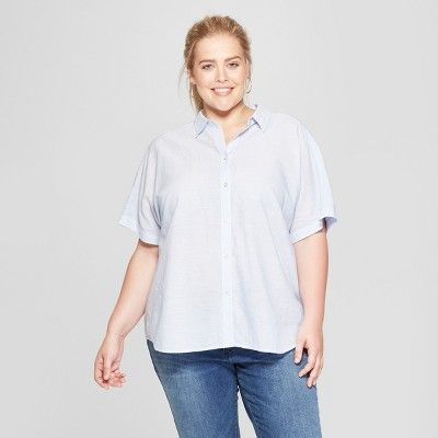 7ca6c3f3a48 Women s Plus Size Striped Short Sleeve Tie Front Button-Down - Universal  Thread  Blue X  Short