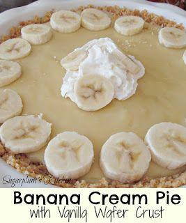 Banana Cream Pie with Vanilla Wafer Crust- So Delicious!  Sugarplum's Kitchen #sugarcreampie