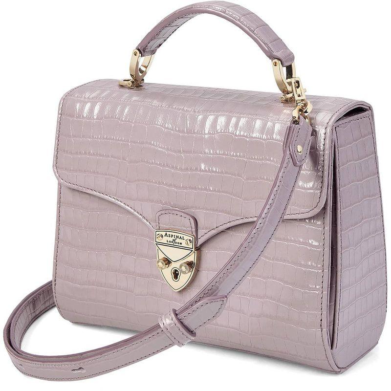 cfbe0d6d71a6 Aspinal of London Lilac Small Croc Midi Mayfair Bag