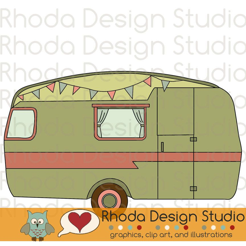 Vintage Camper Olive Green Digital Clip Art Retro Camp Trailers 200 Via Etsy