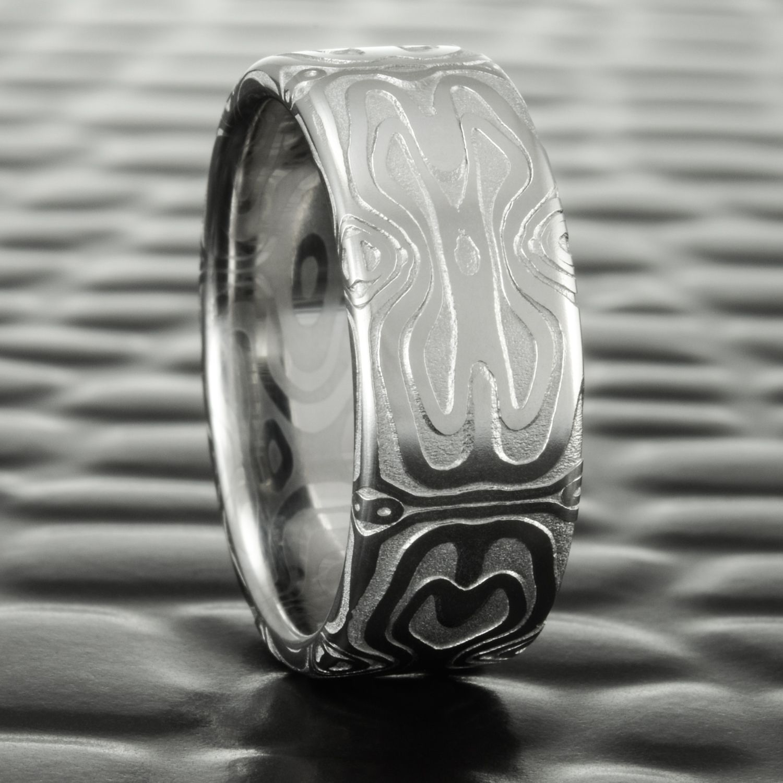 alternative wedding bands Damascus Steel Wedding Band by Steven Jacob Alternative Masculine Ring at Mokume com