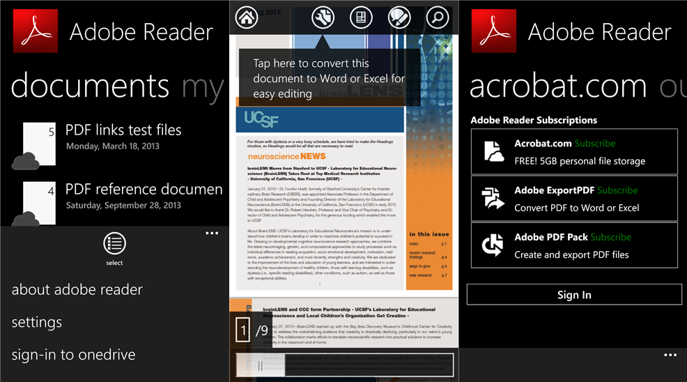 Adobe Reader apps update for Windows Phone devices Adobe