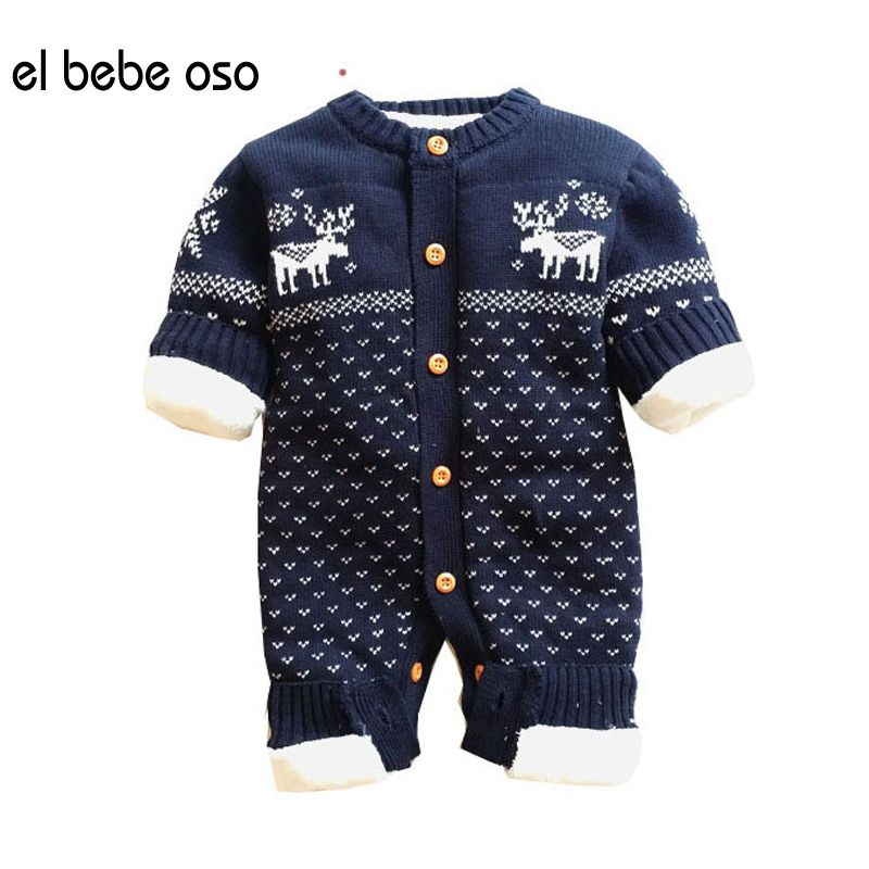 edfe6468468a Click to Buy    el bebe oso Baby Rompers Winter Thick Climbing Clothes