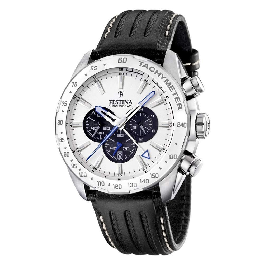 Festina F16489-6 Men's White Dial Black Leather Strap Chronograph Quartz  Watch