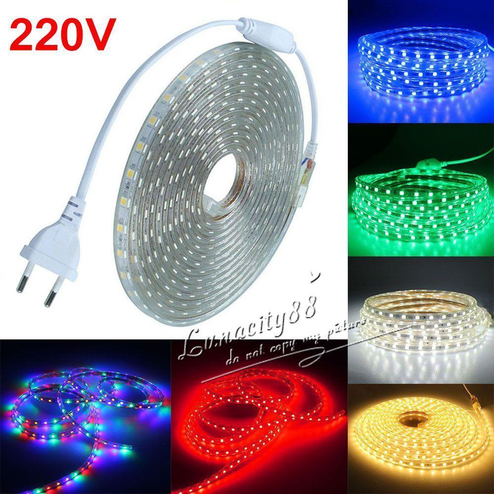 Waterproof SMD 5050 LED Strip 220V 230V 60leds//m Flexible tape rope Light