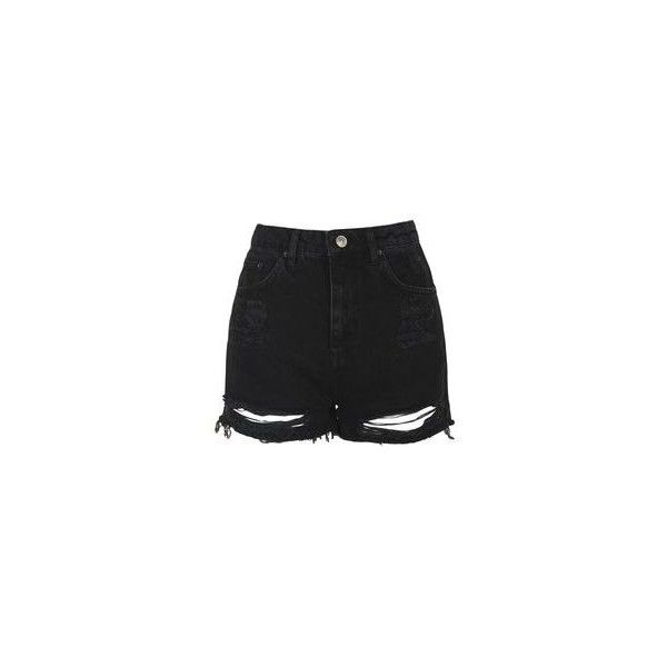 Topshop Tall Moto Ripped Mom Shorts (125 BRL) ❤ liked on Polyvore featuring shorts, high waisted ripped shorts, high-waisted jean shorts, high-waisted shorts, distressed shorts and jean shorts
