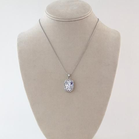 cushion cut CZ bridal pendant. Cubic Zirconia.  Affordable and beautiful bridal and wedding accessories and jewelry.  Bring on the bling at Adorn!