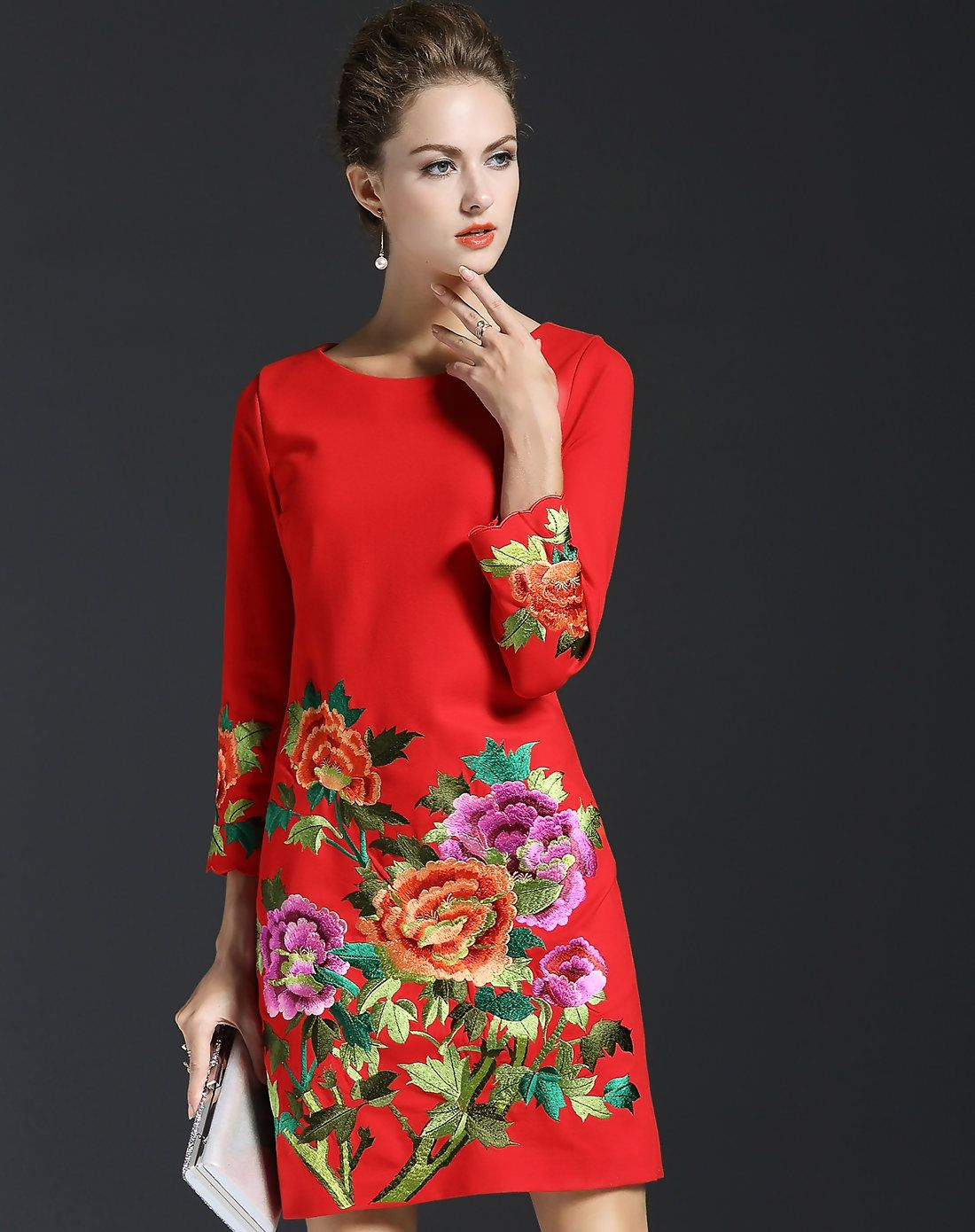 VIPme Red Long Sleeve Floral Embroidery H Line Short Dress ❤ Get ...