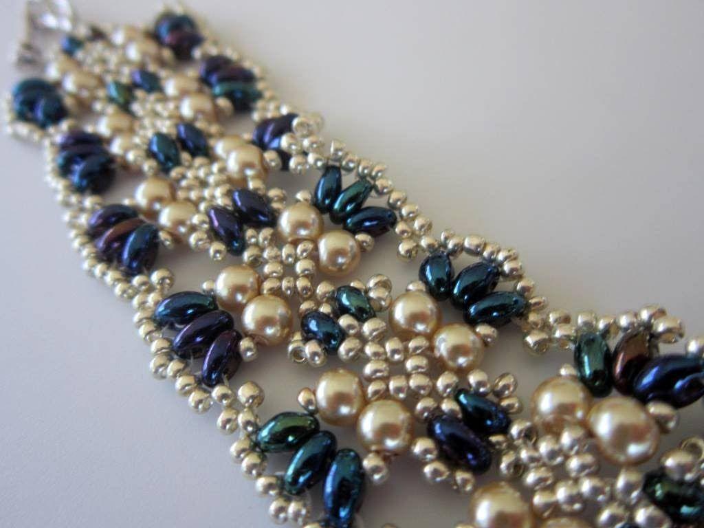 Beaded Bracelet Twin Beads glass Pearl Seed Bead--Need 4mm pearls, twin beads, 11/0 seed beads
