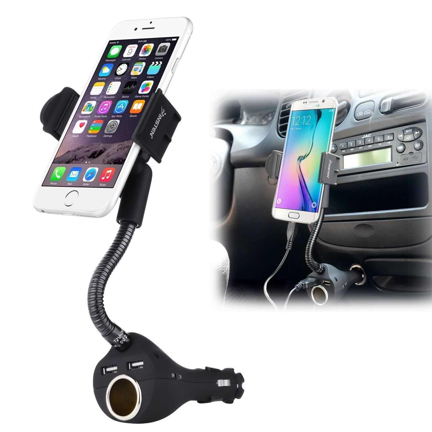 Insten universal car mount phone holder usb charger socket for iphone galaxy edge phones width up to inches black