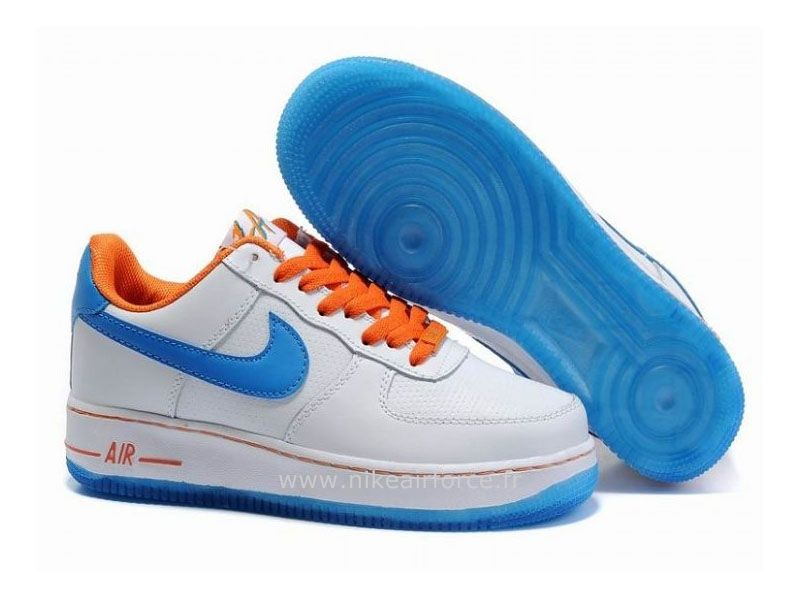 Nouvelles Arrivées 4702e 51c18 Nike Air Force 1 Basse '07 Blanc Hyper Bleu Orange Chaussure ...