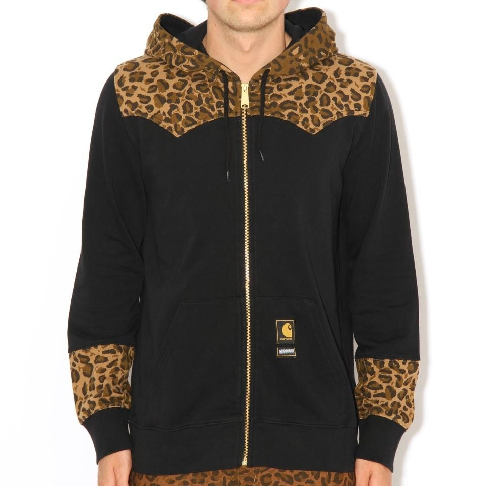 Carhartt X Neighborhood L/S Leopard Hood Black/Brown Leopard | Free UK Shipping and Returns