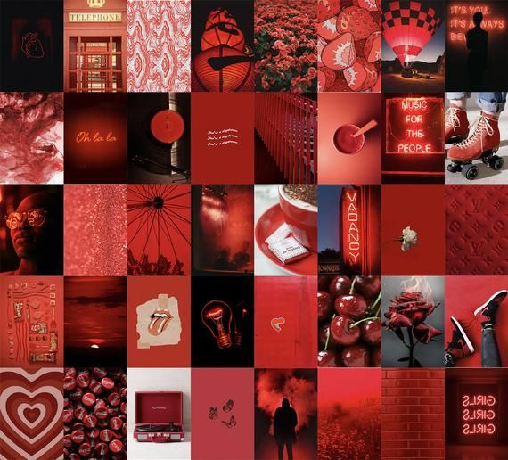 Neon Red Wall Collage Kit