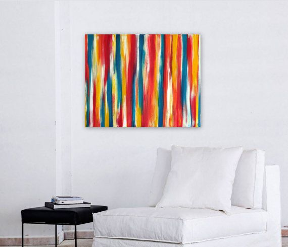 Abstract painting original art tangerine aqua yellow magenta colorful mixed media paintingpainting abstractabstract wall also best decor images on pinterest rh