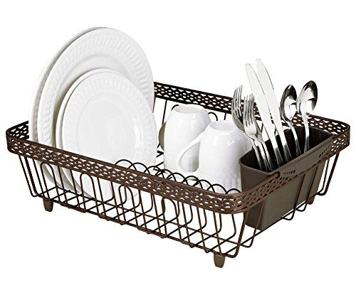 Kitchen Details Infinity Link Dish Rack With Cutlery Holder Rust