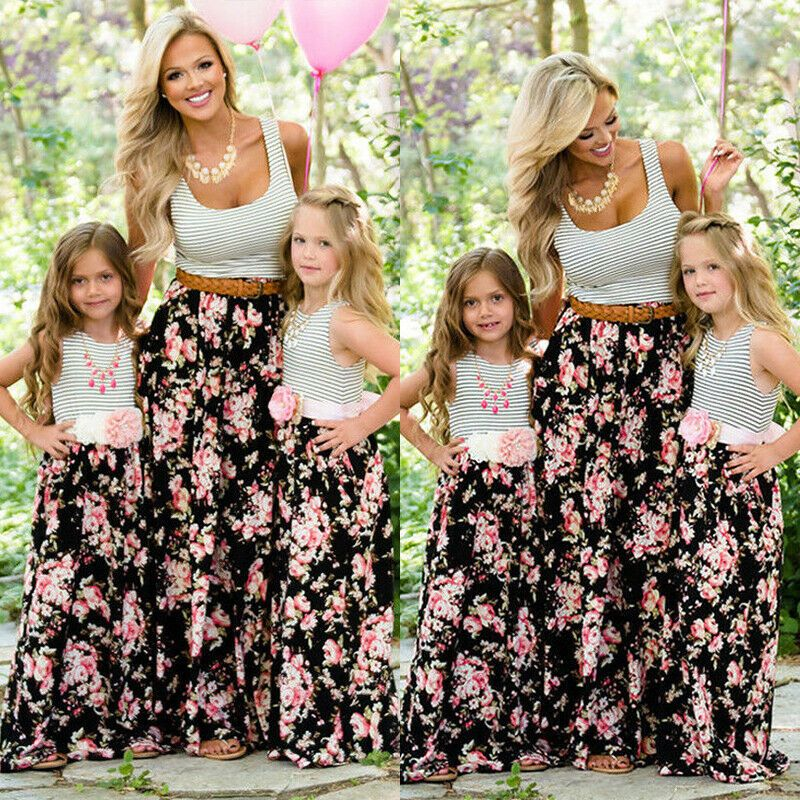 Mother and Daughter Casual Boho Stripe Floral Maxi Dress Mom/&Kid Matching Outfit