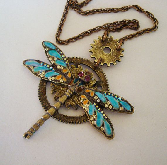 Exclusive Steampunk Dragonfly Necklace Jewelry by ParadiseFindings