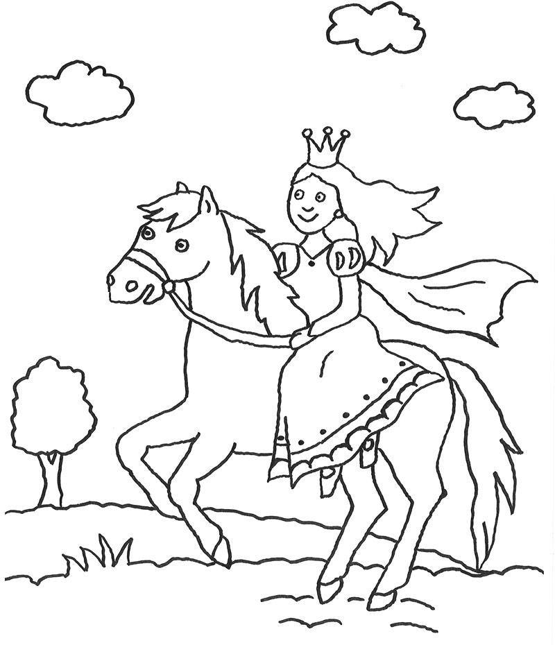 Ausmalbilder Pferde Mit Prinzessin Ritter Burg Burgfräulein Drache