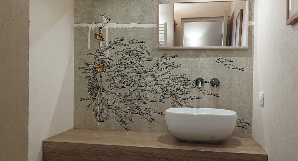 Baño minimalista sobre mural pintado home Pinterest Baño